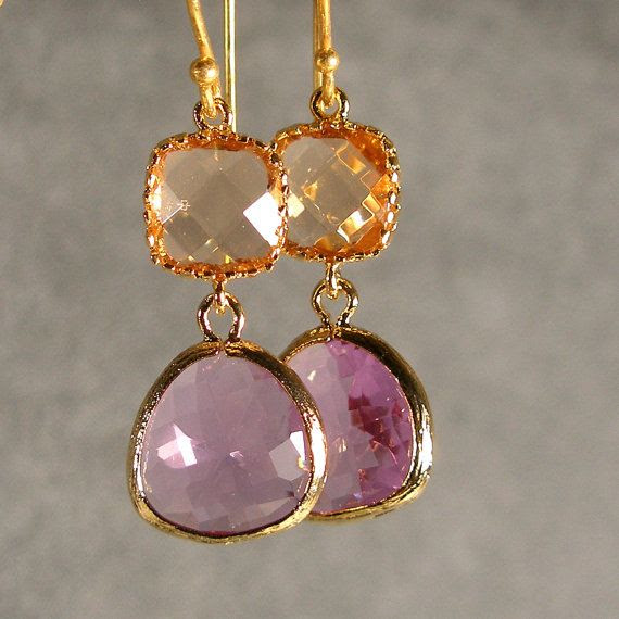 Peach and Lavender Glass Gold Earrings Bridesmaid by ilexiadesigns, $28.00
