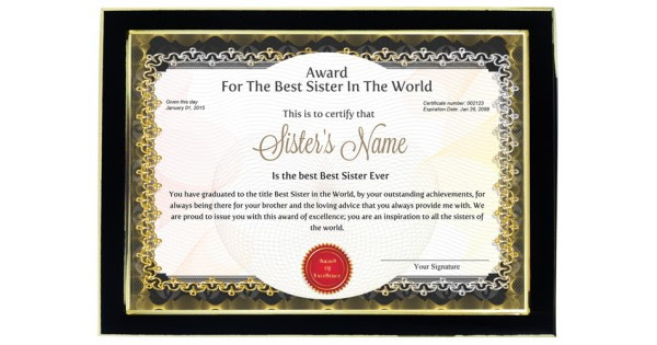 Personalized Award Certificate For Worlds Best Sister With Frame