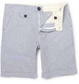Oliver Spencer Dawnay Striped Cotton-seersucker Shorts