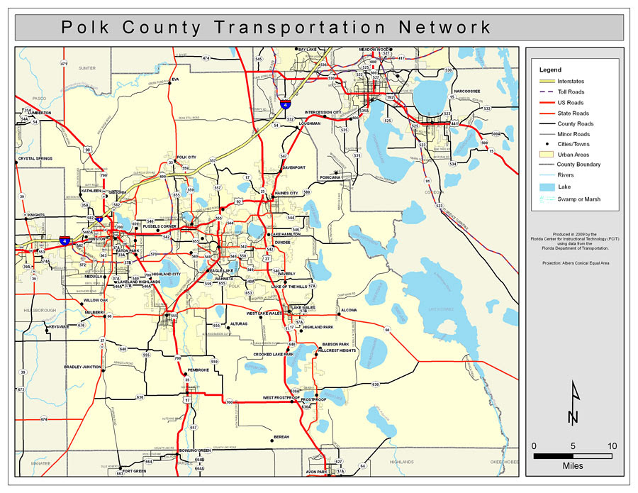Polk County Road Network Color 2009