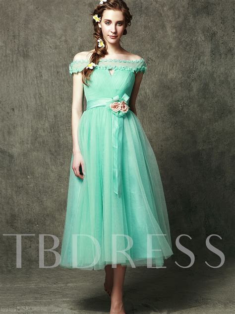 New Style Off The Shoulder Tea Length Flower Bridesmaid