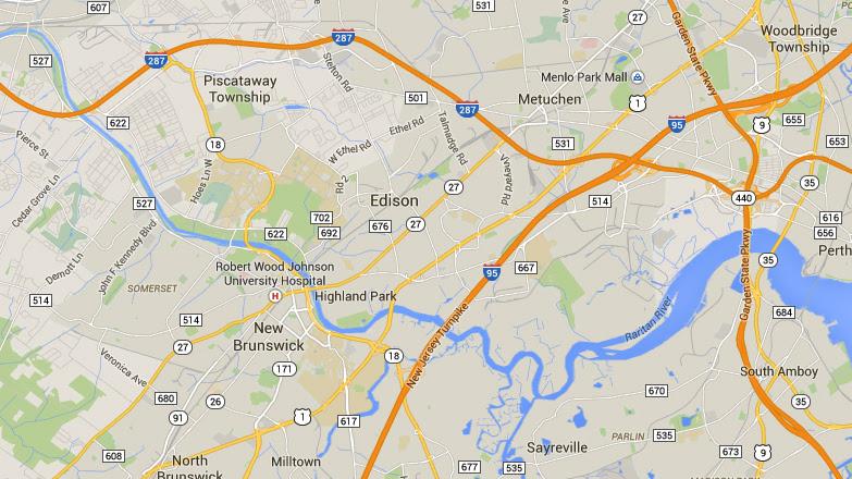 Edison is about 4 miles northeast of Brunswick, NJ. (Credit: Google)