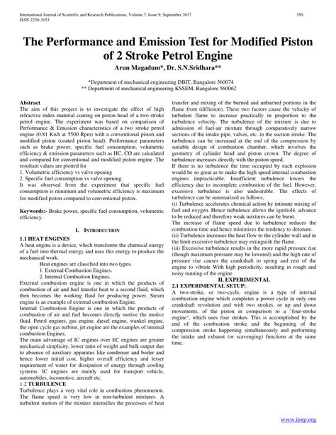 (PDF) The Performance and Emission Test for Modified