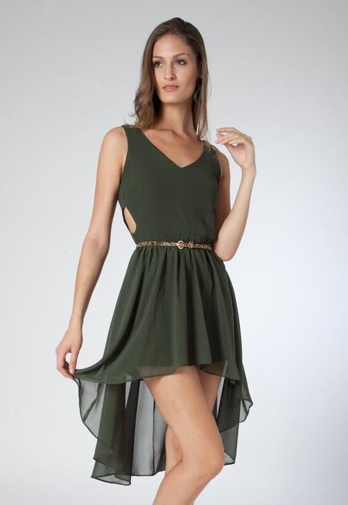 Vestido Mullet Cinto Verde