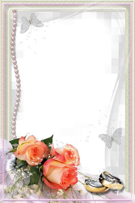 Beautiful Transparent Wedding Photo Frame with Rings and