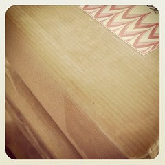 Brown paper packages, tied up with...tape.  Off to the post office I go.