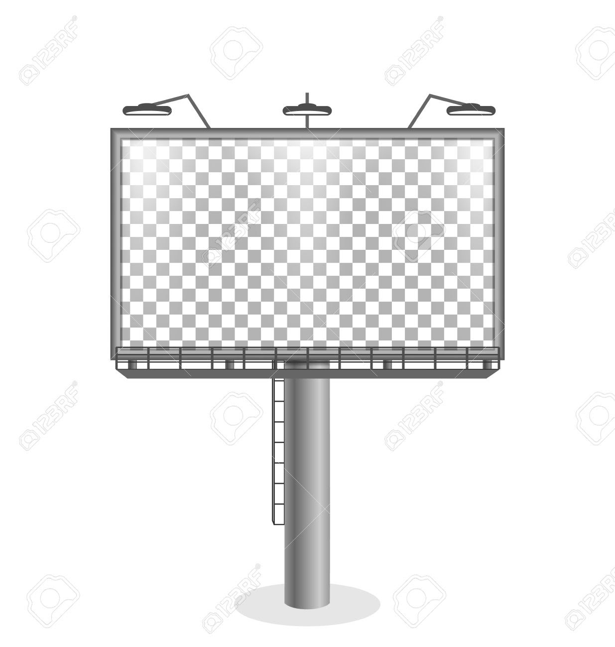 Billboard With Transparent Light Isolated On White Background ...