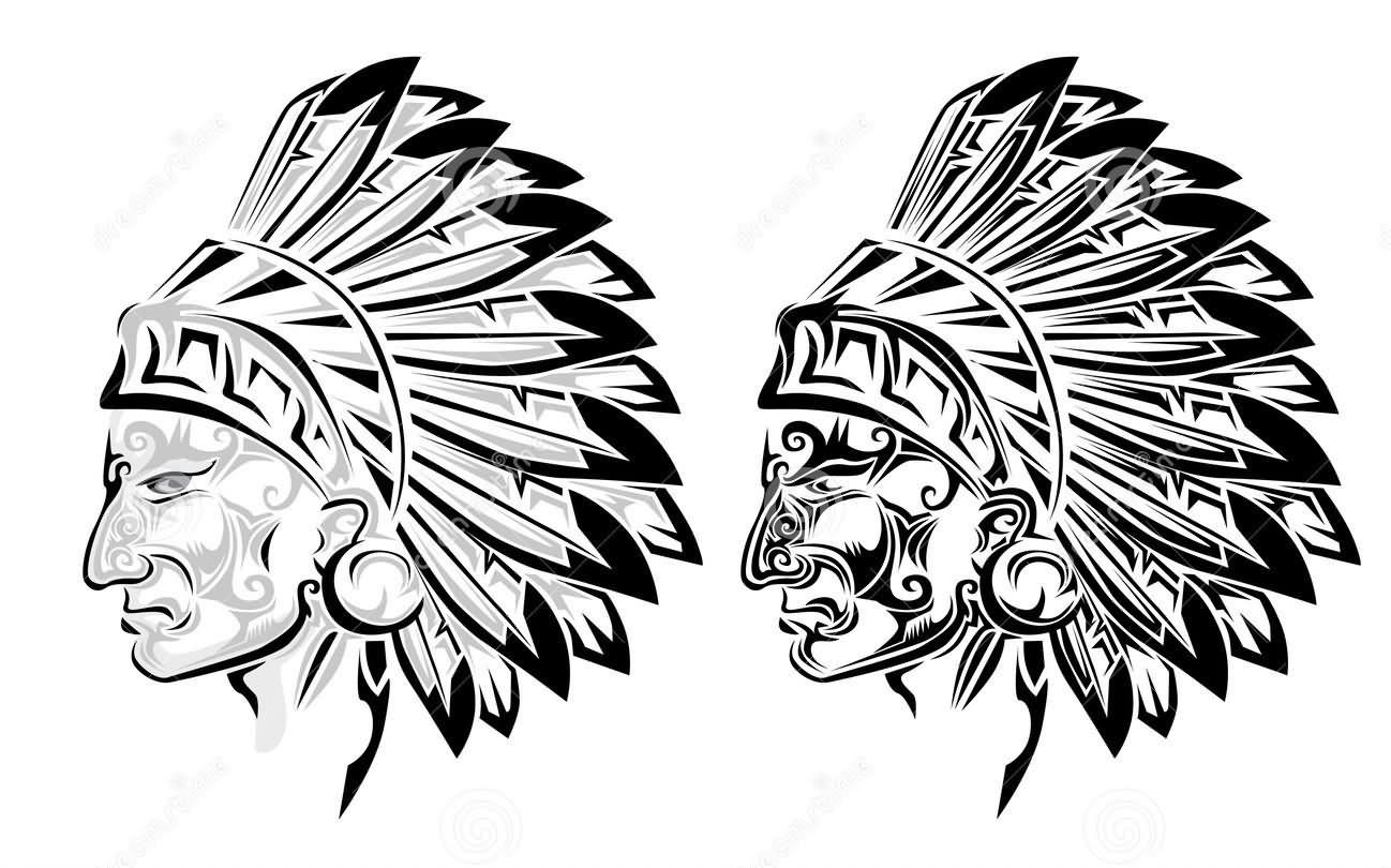 Indian Chief Head Tattoos Designs