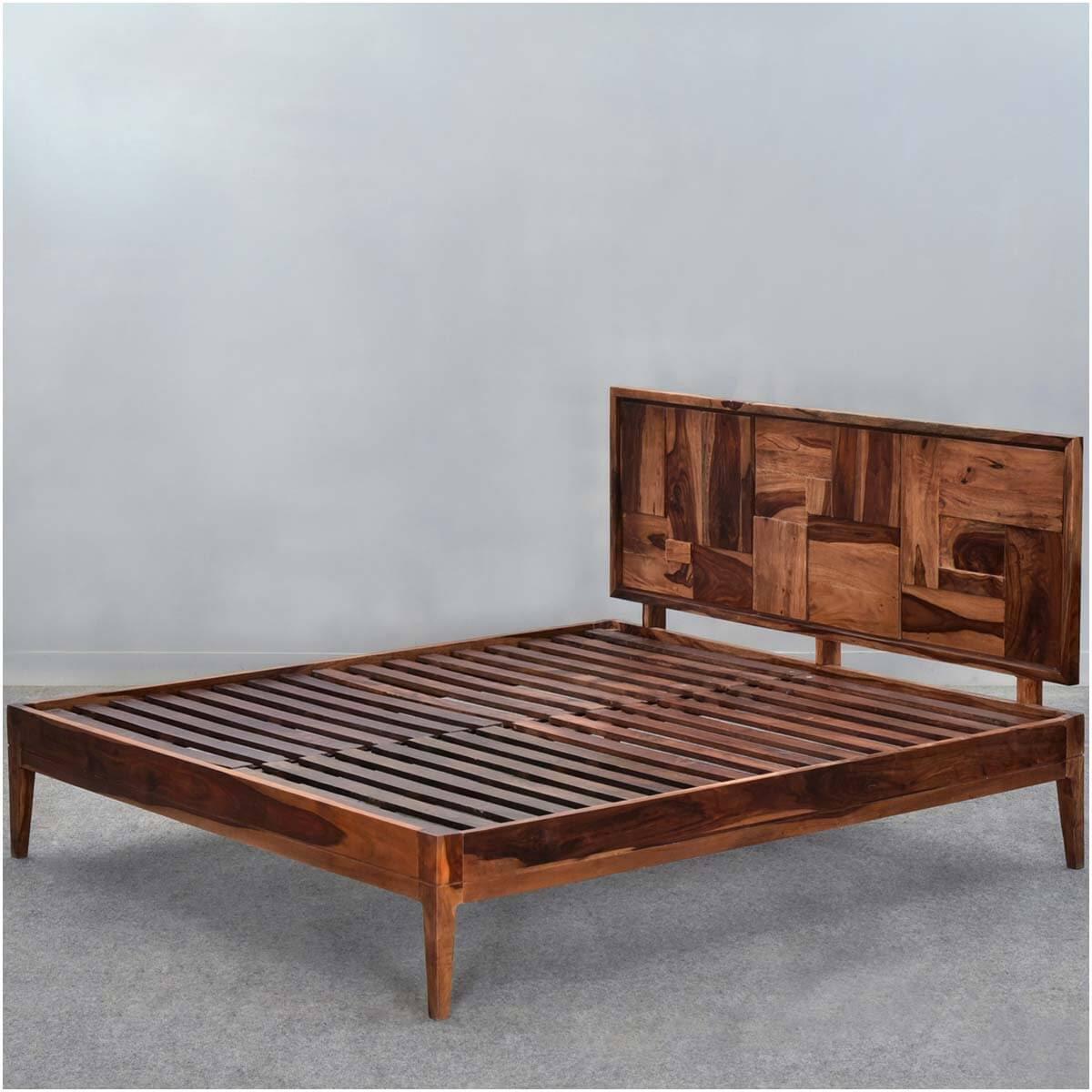 Sunrise Modern Pioneer Solid Wood Platform Bed Frame w ...
