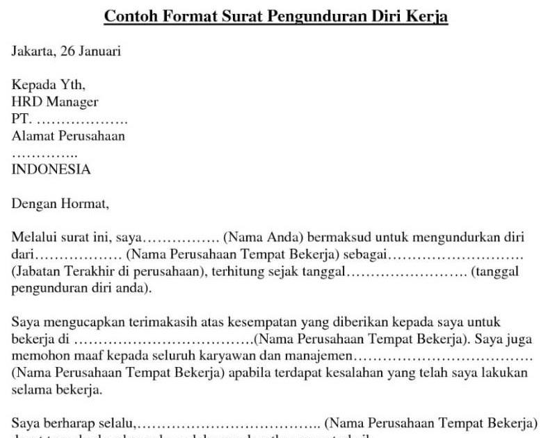 Contoh Surat Resign Kerja Tulisan Tangan Surat Kerja E
