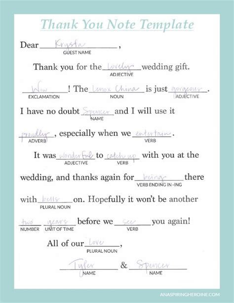 Writing thoughtful, personalized thank you notes   Wedding