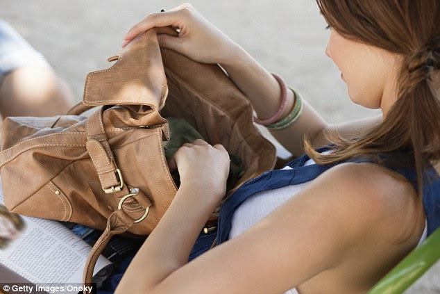 Filled with germs: The inside of a woman's handbag can contain 10,000 different bacteria