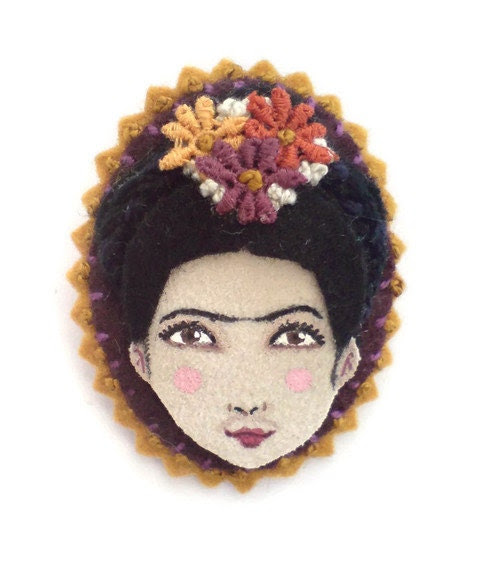 Felt cameo brooch, Frida Kahlo, woman face