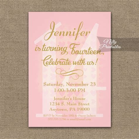 14th Birthday Invitation Pink Hearts PRINTED   Nifty