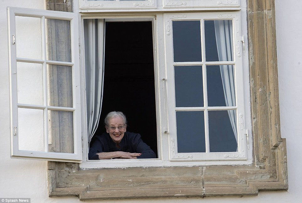 Royal wake-up: Queen Margrethe awoke on her birthday to find a crowd cheering outside