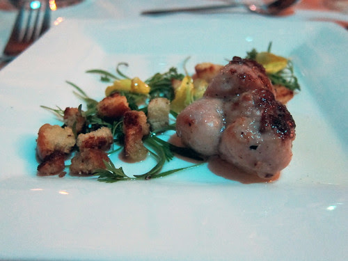 sweetbreads, goat butter croutons, shiitake vinegar