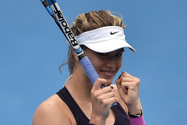 Eugenie Bouchard célèbre sa victoire contreAnastasia Pavlyuchenkova à... (PETER PARKS, AFP)