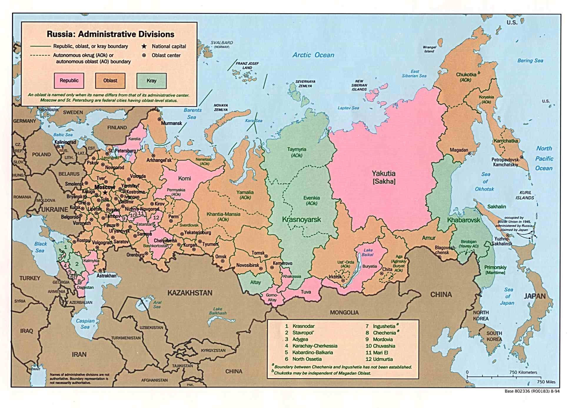 administrative map of russia