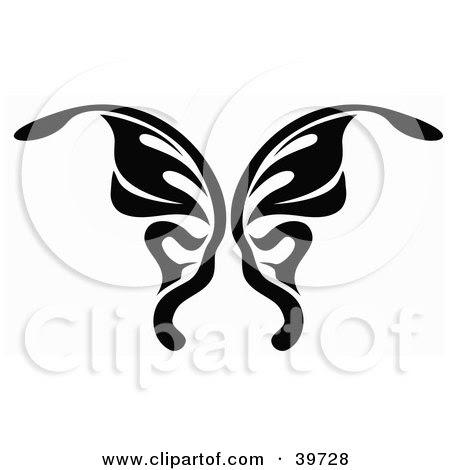Royalty-free insect clipart picture of a black and white butterfly tattoo