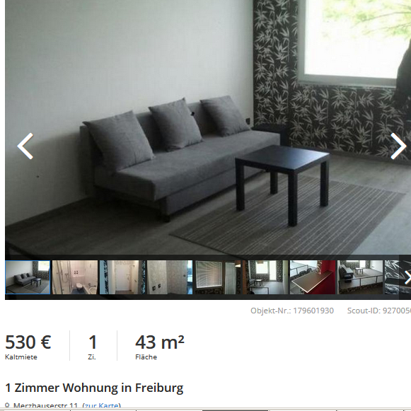 1 zimmer wohnung in freiburg. Black Bedroom Furniture Sets. Home Design Ideas