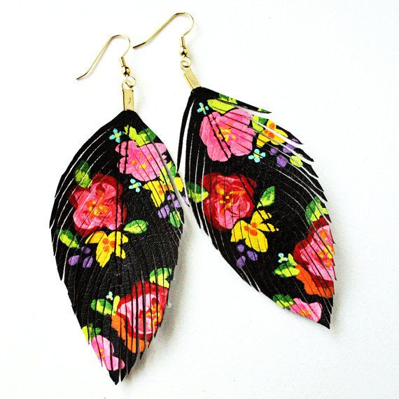 Handpainted Faux Feather Earrings by LoveSexton - The Beading Gem's Journal