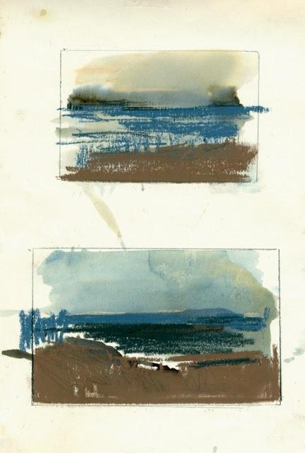Desde el Castillo de San Sebastián I. 2011. Acuarela, tinta y pastel s/papel. LOURDES CASTRO