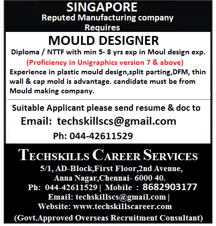Required For Singapore Mould Designer S Pass