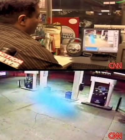 Still shots from a video showing a ghostly object flying around outside an Ohio gas station.