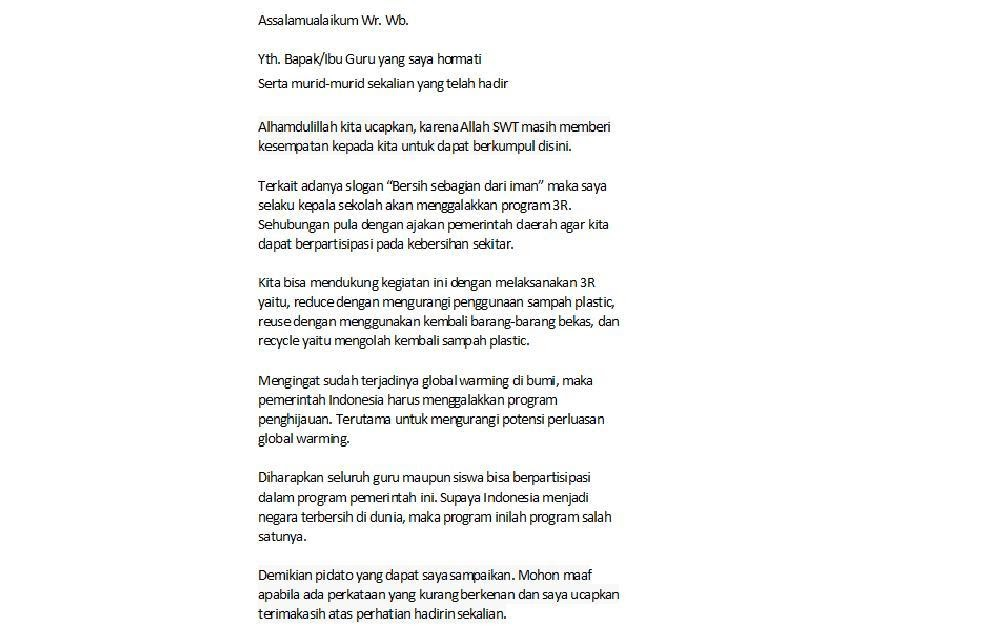 Pidato Bahasa Jawa Singkat Tema Kebersihan - Kumpulan ...
