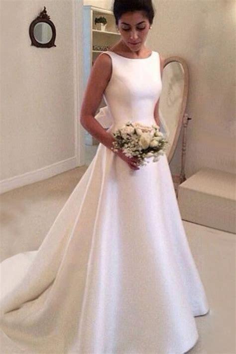 Simple Bateau Backless Court Train A Line Wedding Dress