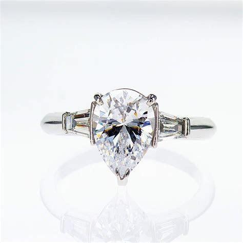 Pear Shape Diamond Engagement Ring, 18k White Gold (semi