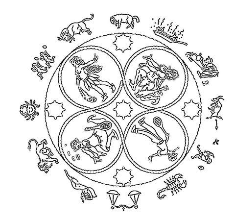 Dibujo De Mandala Del Zodiaco Para Colorear Dibujos Para Colorear