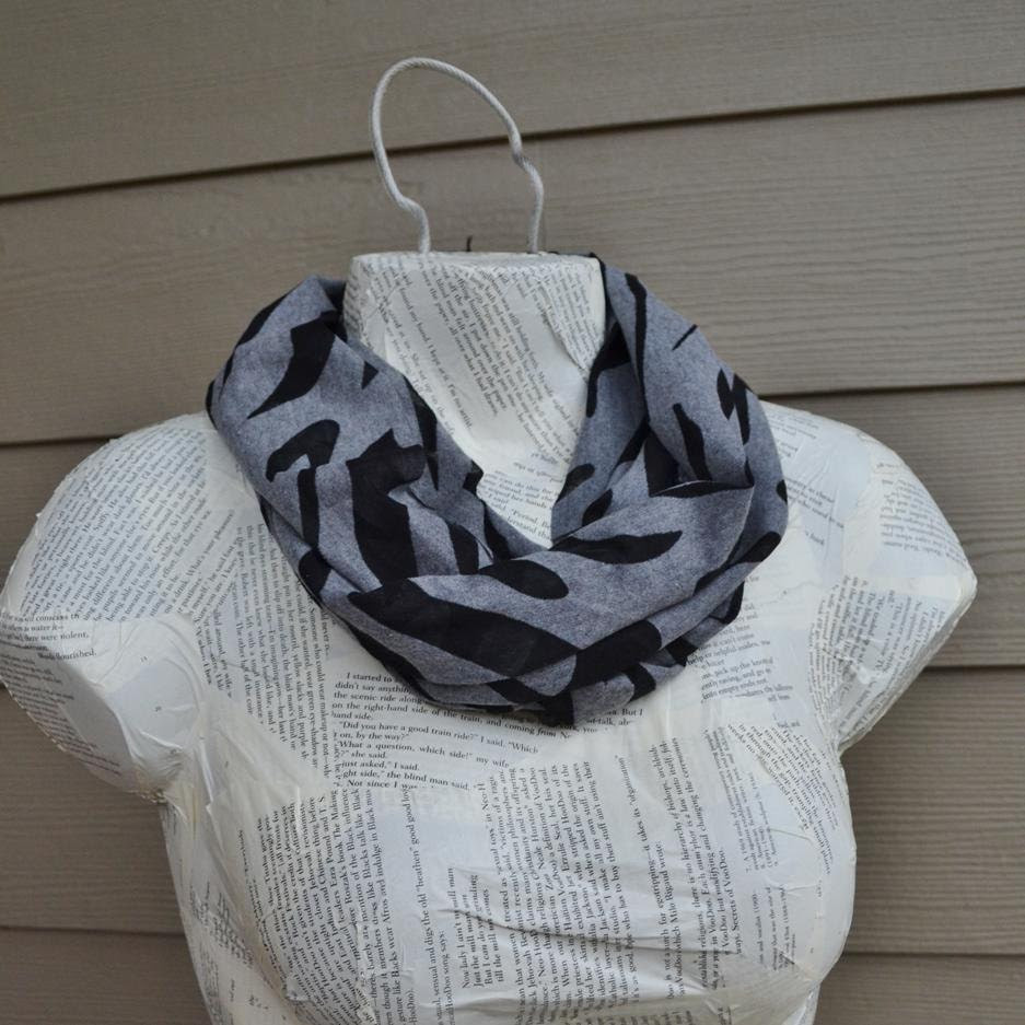 Gray and Black Zebra Burnout Pattern Infinity Scarf from Jersey Knit
