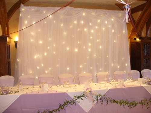 Fairy lights with some organza cover probably with our names on the cloth