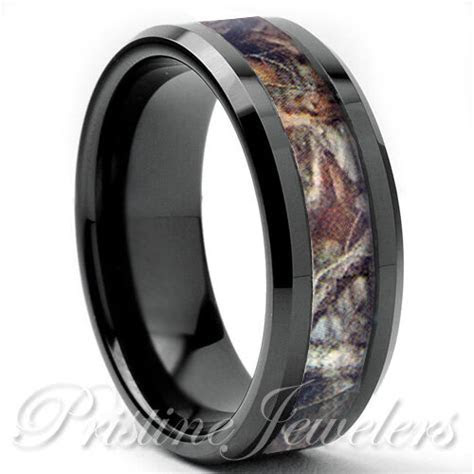 Titanium Oak Real Forest Camo Ring Mossy Tree Wedding Band
