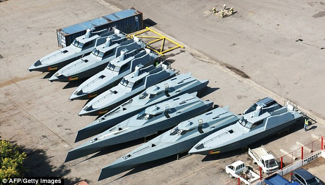 Mozambique said most of the secret loans had been used to fund maritime security and shipyards, including eight speedboats, pictured at the port in the country's capital, Maputo