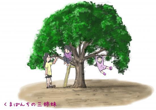 イラスト木登り遊び くまぱんの気ままにブログ