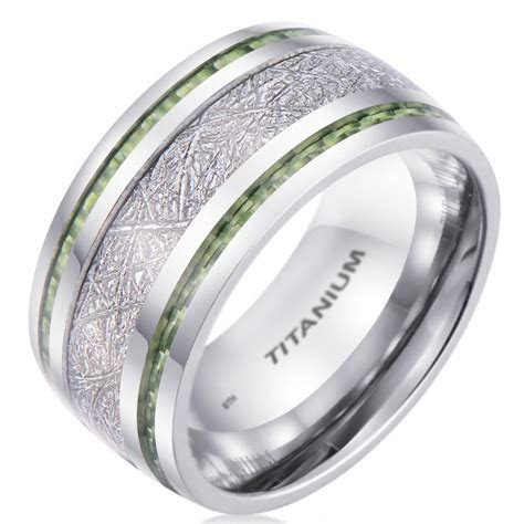 10mm Meteorite Inlay Titanium Wedding Band Ring With Green