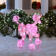 Gemmy LED Lighted Twinkling Starry Night Poodle Sculpture Outdoor Yard Decor NEW