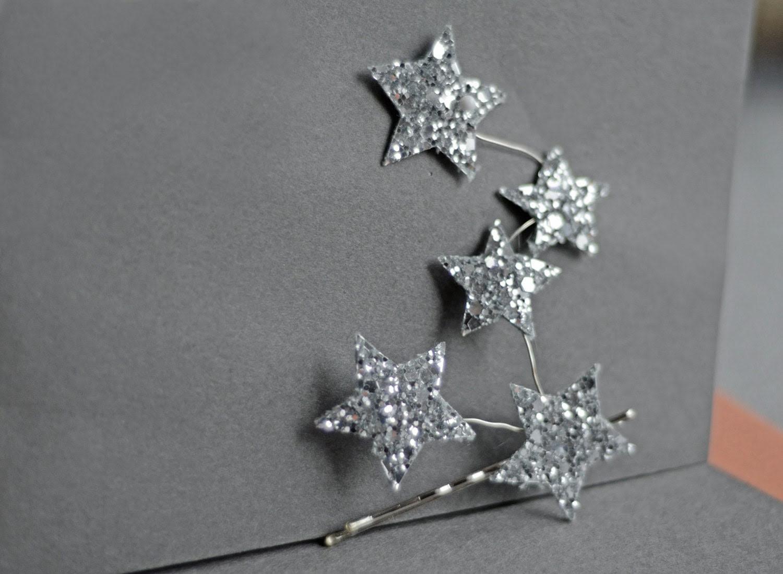 You are My Constellation Star Bridal Headpiece Glitter Fabric Silver Bobby Pin Bridesmaids Handmade Soft Fabric Wedding Free Shipping - EllaGajewskaBRIDAL