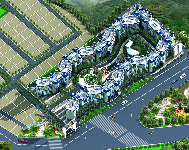 Layout of apartment complex in Dajikaka Gadgil Developers' AnantSrishti, 35 acre gated community, at Kanhe