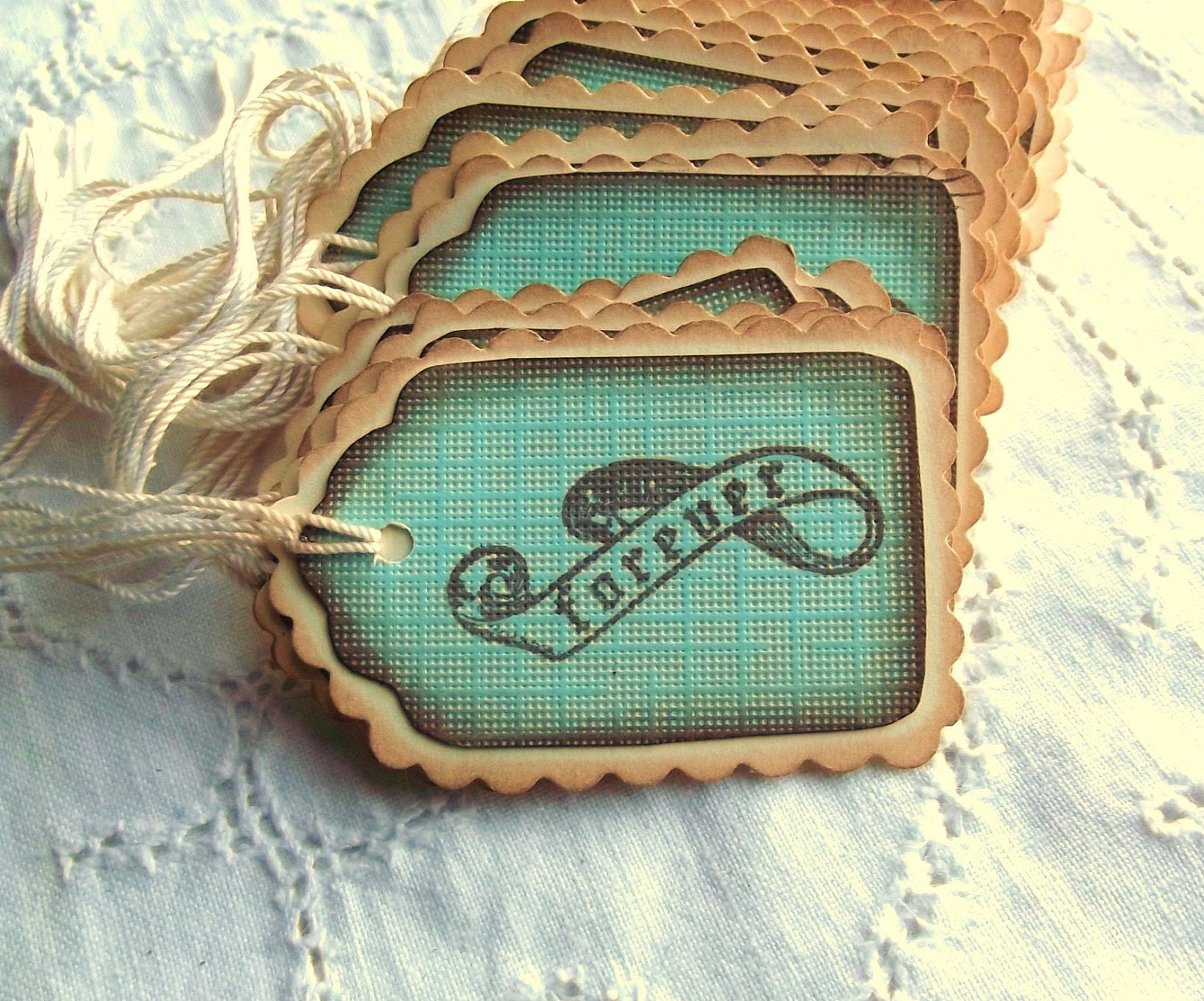 25 Teal Forever Banner Tags - Scalloped, Cream, Aqua, Vintage Inspired