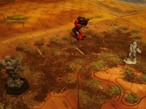Warhawk retreats out of heavy woods