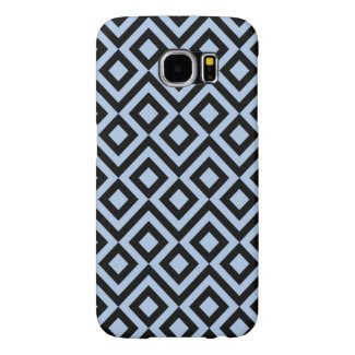 Light Blue and Black Meander Samsung Galaxy S6 Cases