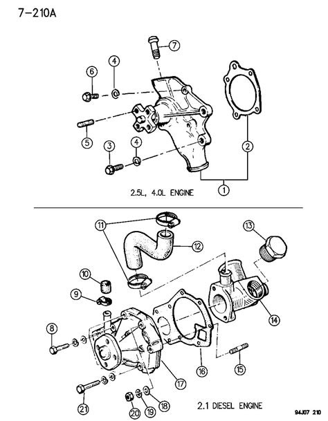 1995 Jeep Cherokee WATER PUMP AND RELATED PARTS 2.5, 4.0