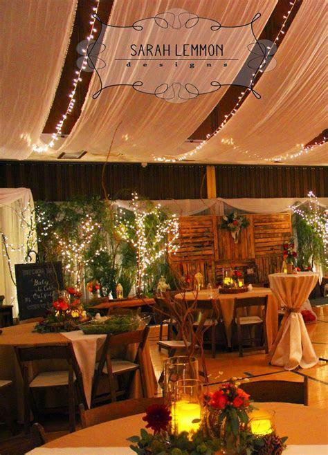 Rustic Woodland Wedding Reception. LDS cultural hall