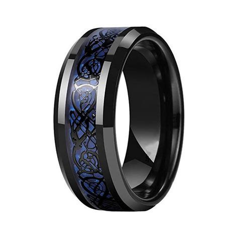 Men's Blue Celtic Dragon Carbon Fiber Black Tungsten