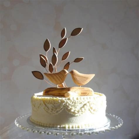 Bird Wedding Cake Topper, Wooden Cake Topper, Love Bird