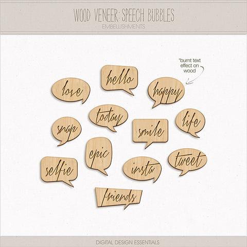 NEW! Wood Veneer: Speech Bubbles