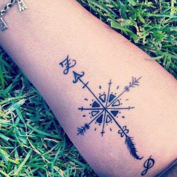Great Looking Black Compass Tattoo Tattoomagz